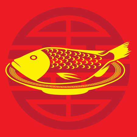 Een gestoomde vis illustratie.