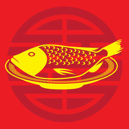 A steamed fish illustration.