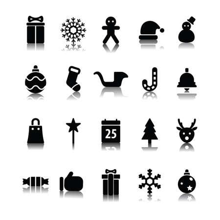 set van Kerstmis iconen Stock Illustratie