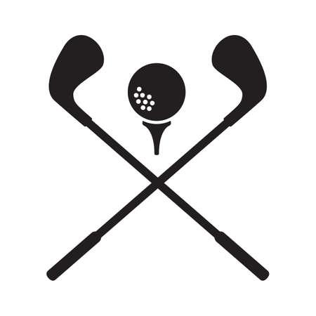pelota de golf con palos cruzados Ilustración de vector
