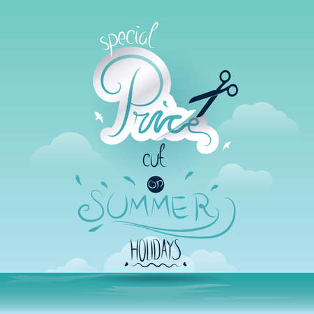A summer holidays discount poster illustration.