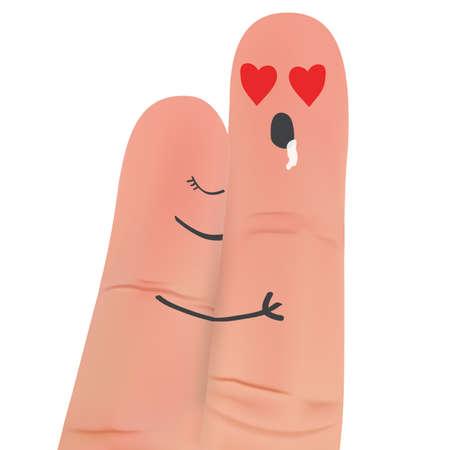 그림을 포옹하는 손가락 커플.