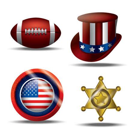 conjunto de iconos americanos Ilustración de vector