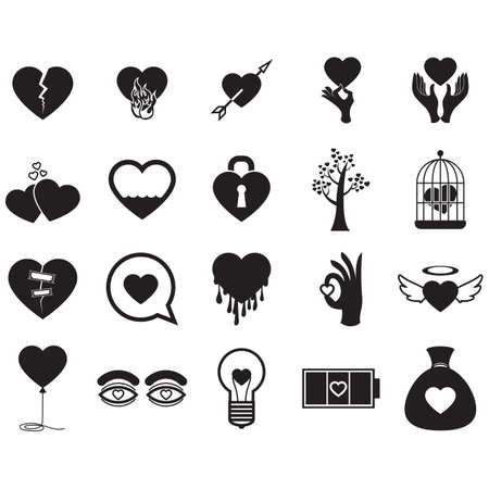 A set of heart icons illustration.