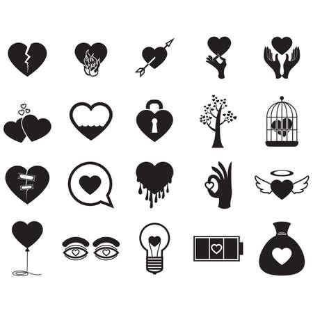 Un conjunto de iconos de corazón ilustración. Foto de archivo - 81486034