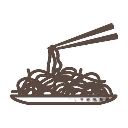 젓가락으로 국수 접시