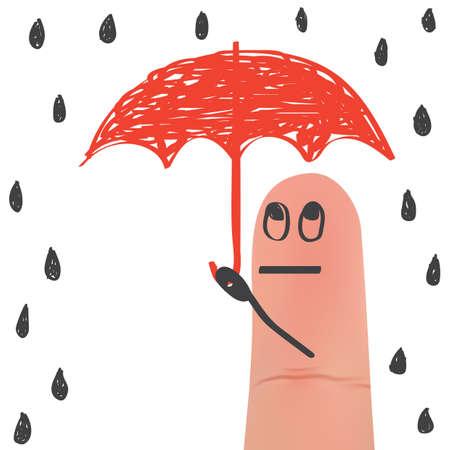 A finger holding umbrella illustration. Illustration