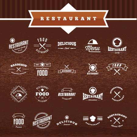 Collection d'étiquettes de restaurant Banque d'images - 81486043