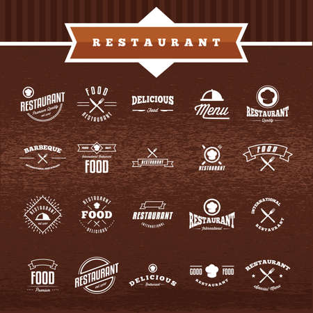 restaurant labels collection Illustration
