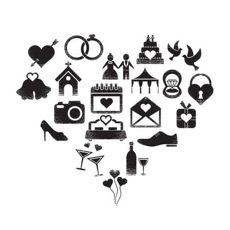 Set von Hochzeit Symbole Standard-Bild - 81537503