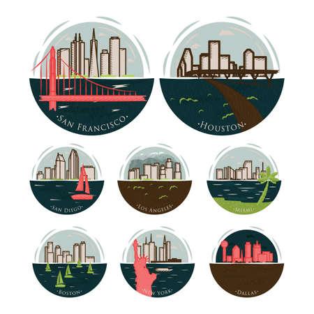set of america states Illustration