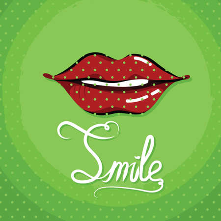 A word smile with lips on dot background illustration.