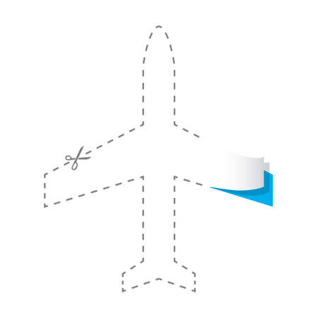 paper cut out of aeroplane Illustration