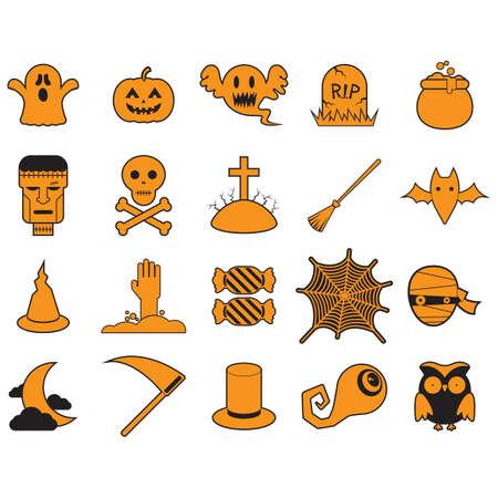 skull and crossed bones: set of halloween icons Illustration