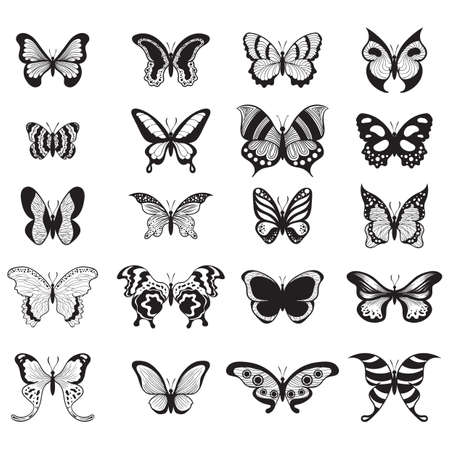 A set of butterflies icons illustration.
