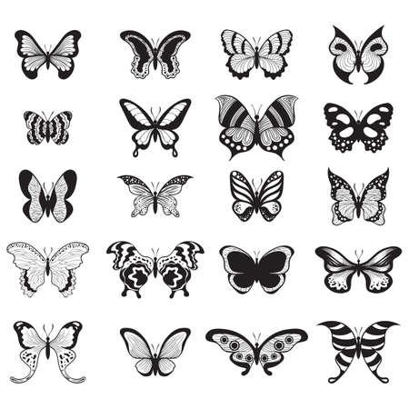 Een reeks van de illustratie van vlinderspictogrammen. Stock Illustratie