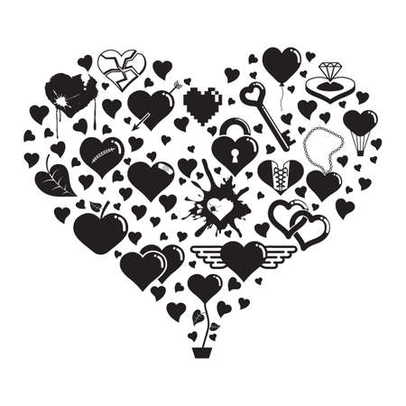 Heart shape love icons Illustration