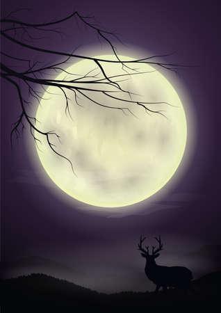 rendieren met volle maan achtergrond