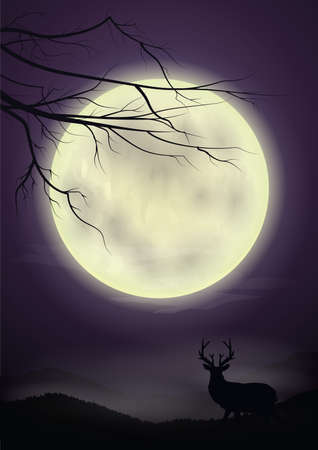 reindeer with full moon background Illustration