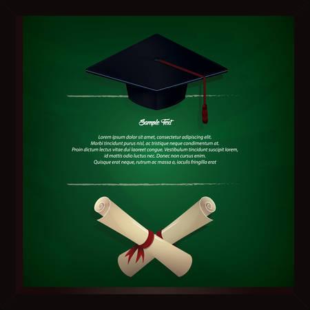 Cappello di graduazione e cornice del certificato Archivio Fotografico - 81538560