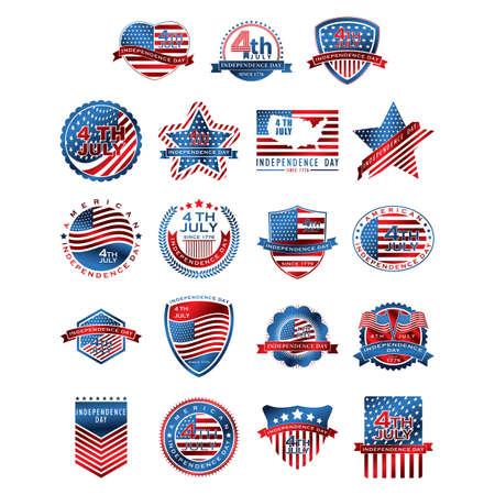 set of american independence day icons Ilustração
