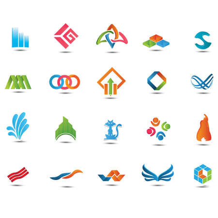 A set of abstract icons illustration. Banco de Imagens - 81420349