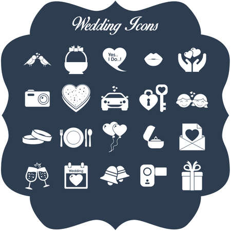 A set of wedding icons illustration. Çizim