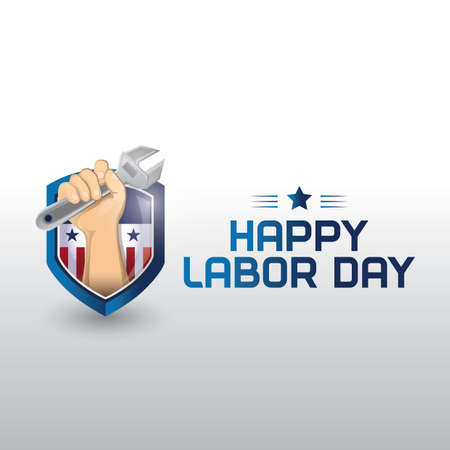happy labor day shield Illustration