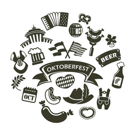 A collection of oktoberfest icons illustration.