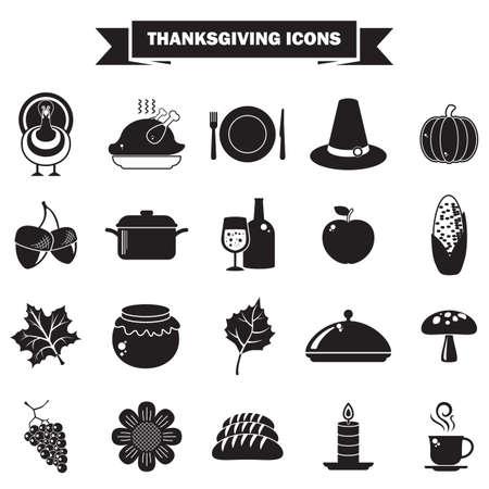 thanksgiving pictogrammen Stock Illustratie