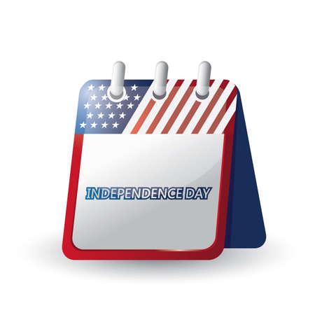 Amerikaanse onafhankelijkheidsdagkalender Stock Illustratie