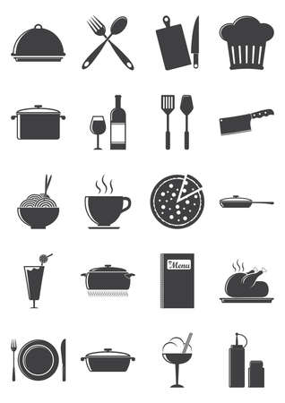 pin board: Set of kitchen and food icons Illustration