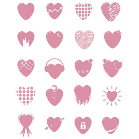 Set of heart icons Ilustracja