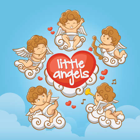 cute little angels 向量圖像