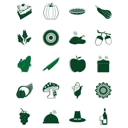 Een set van thanksgiving iconen illustratie. Stock Illustratie