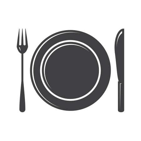 Assiette avec fourchette et couteau Banque d'images - 81486533