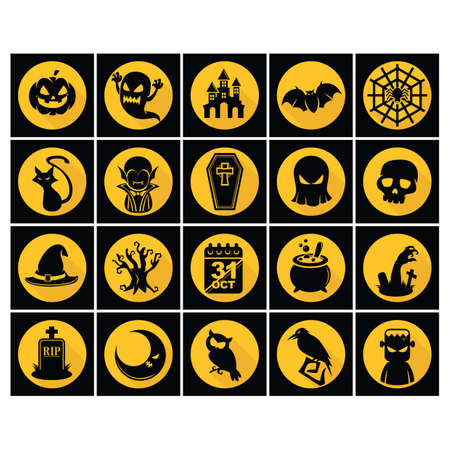 set of halloween icons 일러스트