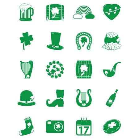 Een set van pictogrammen van heilige Patrick's illustratie.