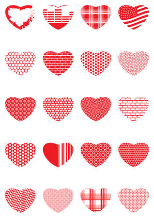 collection of decorative hearts Ilustracja