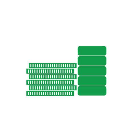 緑のコインのイラスト。