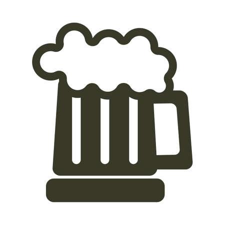 A beer in a mug illustration.