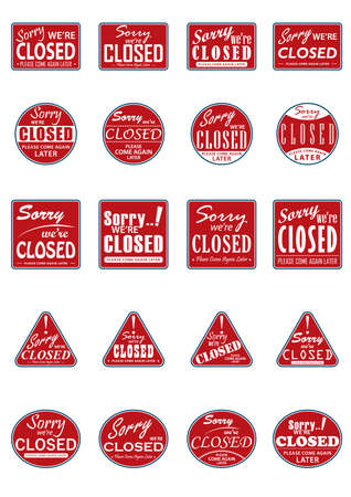 sorry were closed labels collection Ilustração
