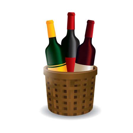 Wine bottles in basket Illustration