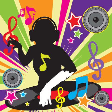 음악을 연주하는 DJ 일러스트