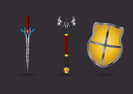 ファンタジー武器のセット  イラスト・ベクター素材