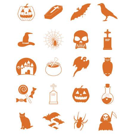 set of halloween icons 向量圖像