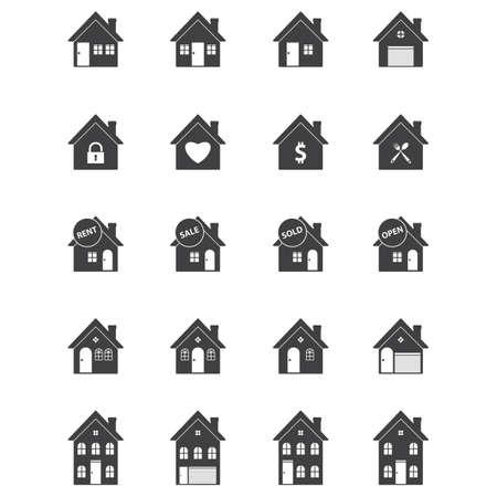 set van huis iconen Stock Illustratie