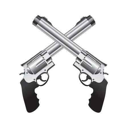 交差した拳銃