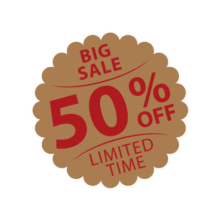big sale fifty percent off label