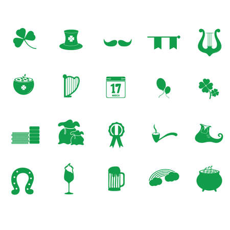 set of saint patricks icons Illustration